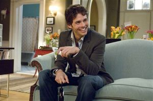 James Marsden tickles his invisible labrador.  Hope he's got the right end.