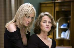 Charlotte Rampling discovers quite how comfortable it is leaning back on Sharon since her surgery.