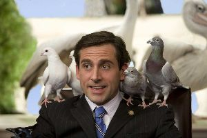 Steve Carell tries to fly by gluing pigeons to his shoulders.  That would've been a more believable storyline.