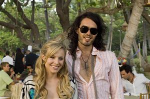 Russell Brand can never be sure if Kristen Bell is laughing at him or with him.