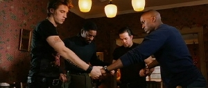 (L-to-R) Garrett Hedlund, Andre Benjamin, Mark Wahlberg and Tyrese Gibson, asserting their manhood.