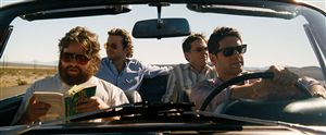 (L-R) Zach Galifianakis, Bradley Cooper, Ed Helms and Justin Bartha try to remember where they left the hotel.