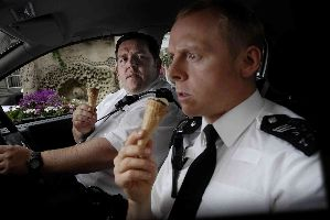 Simon Pegg and Nick Frost ponder the legality of a pot-riddled Cornetto, for medicinal purposes.