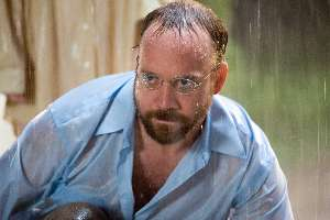 Paul Giamatti fails to see the humour of being pushed in the pool.