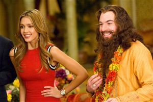 Jessica Alba and Mike Myers discover the secret of happiness is a big beard and a teapot impression.
