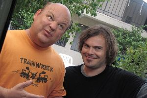 Kyle Gass and Jack Black practise how best to scare women away.