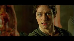 James McAvoy hopes that it's sweat running down his leg.