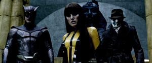 Patrick Wilson, Malin Akerman and Jackie Earle Haley (Nite-Owl II, Silk Spectre II and Rorschach) confused the invitations for the fancy dress party and the funeral.